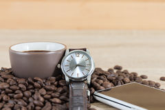 Coffee time concept ,Coffee beans and coffee cup Stock Image