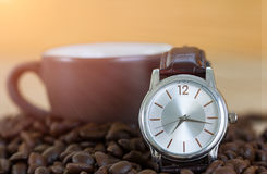 Coffee time concept ,Coffee beans and coffee cup Royalty Free Stock Photography