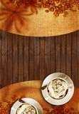 Coffee Time Concept. Illustration with Copy Space on Wood Background Royalty Free Stock Images