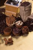 Coffee time concept. Still-life with coffee, coffee beans and spices. Coffee time concept Stock Images