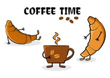 Coffee time. Croissants and cup hot coffee. Vector illustration vector illustration
