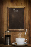 Coffee Time. Cup of coffee with menu chalk board Stock Images