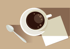 Coffee time. Cup of coffee with tea spoon and napkin, vector vector illustration