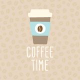 Coffee time. Cup to go. Vector EPS 10 hand drawn illustration Royalty Free Stock Photography