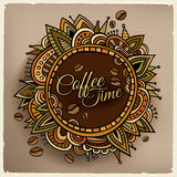 Coffee time decorative border label design Royalty Free Stock Images