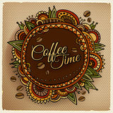 Coffee time decorative border label design. Stock Photography