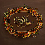 Coffee time decorative border label design. Royalty Free Stock Images