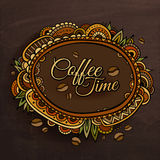 Coffee time decorative border label design. Royalty Free Stock Image