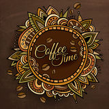 Coffee time decorative border label design Stock Photography