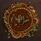Coffee time decorative border label design Royalty Free Stock Photography