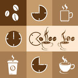Coffee Time design on brown background, vector illustration Royalty Free Stock Photos