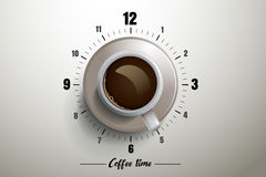 Coffee time design with clock concept Royalty Free Stock Photo
