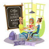 Coffee Time Design Concept With Hipsters Royalty Free Stock Photo