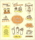 Coffee time designs set for cafe or restaurant. Best coffee, desserts, extras, take out concepts collection, vector sketch illustration royalty free illustration