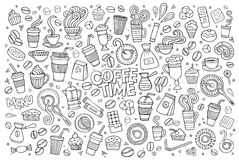Coffee time doodles hand drawn vector symbols Stock Photo