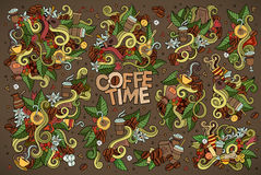 Coffee time doodles hand drawn vector symbols Royalty Free Stock Photography