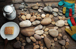 Coffee time,foot pebbles background. Relax morning for new day with coffee time in cafeteria, abstract cafe interior with table near glass window, pebbles Stock Photos