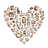 Coffee time, heart shape Stock Photography