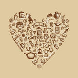 Coffee time, heart shape for your design Stock Images