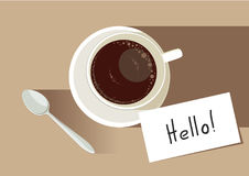 Coffee time `hello!`. White top view cup of coffee with tea spoon and message card `HELLO` . Concept vector stock illustration