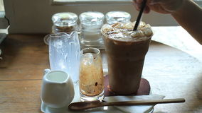 Coffee Time With Ice Mocha stock video footage