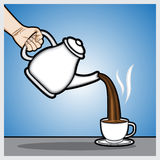 Coffee time. An illustration of a hands holding a teapot and hot coffee cup vector Stock Image