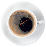 Coffee and time. Isolated on white, saved clipping path Royalty Free Stock Images
