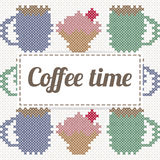 Coffee time lettering with cupcake and coffee, imitation of cross Royalty Free Stock Photos