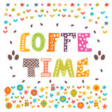 Coffee time. Lettering design. Conceptual handwritten phrase.  Royalty Free Stock Photo