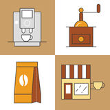 Coffee Time Line Art Thin Icons Set with Coffee Cups and Beans Stock Photos