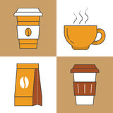 Coffee Time Line Art Thin Icons Set with Coffee Cups and Beans Royalty Free Stock Photo