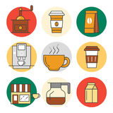 Coffee Time Line Art Thin Icons Set with Coffee Cups and Beans Stock Photography