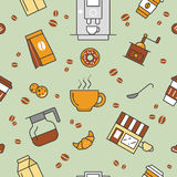 Coffee Time Line Art Thin Seamless Pattern Background with Coffee Cups and Beans Stock Photo
