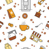 Coffee Time Line Art Thin Seamless Pattern Background with Coffee Cups and Beans Royalty Free Stock Image