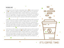 Coffee time linear colorful vector illustration Stock Images