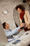 Coffee time in office. Coffee time for workingman in office Stock Photos