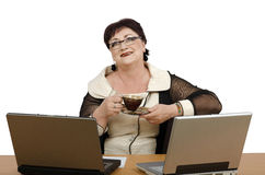 Coffee time in online help desk Royalty Free Stock Photos
