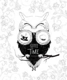 Coffee time owl in binoculars. Doodle illustration Royalty Free Stock Photos