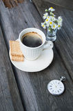 Coffee time. Pocket watch and with the words coffee time Stock Photos