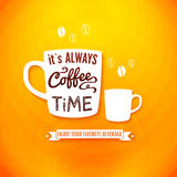 It is always coffee time. Poster with coffee cups  Royalty Free Stock Photography