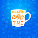 It is always coffee time. Poster with coffee cups  Royalty Free Stock Images