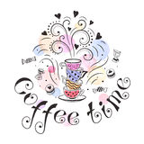 Coffee time poster. Concept. Coffee party card design. Hand drawn doodle illustration with teapots, cups and sweets Stock Images