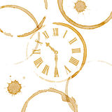 Coffee Time Ring Stains and Clock Face Royalty Free Stock Photography