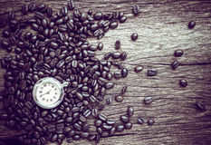 Coffee time , roasted coffee beans, can be used as a background.  Royalty Free Stock Photography