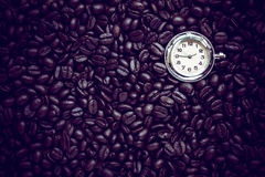 Coffee time , roasted coffee beans, can be used as a background. Coffee time , roasted coffee beans, can be used as a background Royalty Free Stock Image