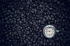 Coffee time , roasted coffee beans, can be used as a background.  Royalty Free Stock Images