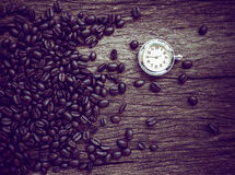 Coffee time , roasted coffee beans, can be used as a background.  Royalty Free Stock Photos