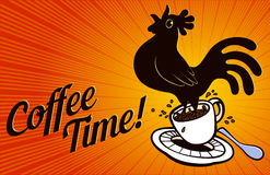 Coffee Time! Rooster springing from coffee cup Royalty Free Stock Images