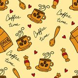 Coffee time seamless background with coffee cups. Vector illustration Royalty Free Stock Image