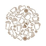 Coffee time. Set of coffee theme in shape of circle. Vector illustration vector illustration